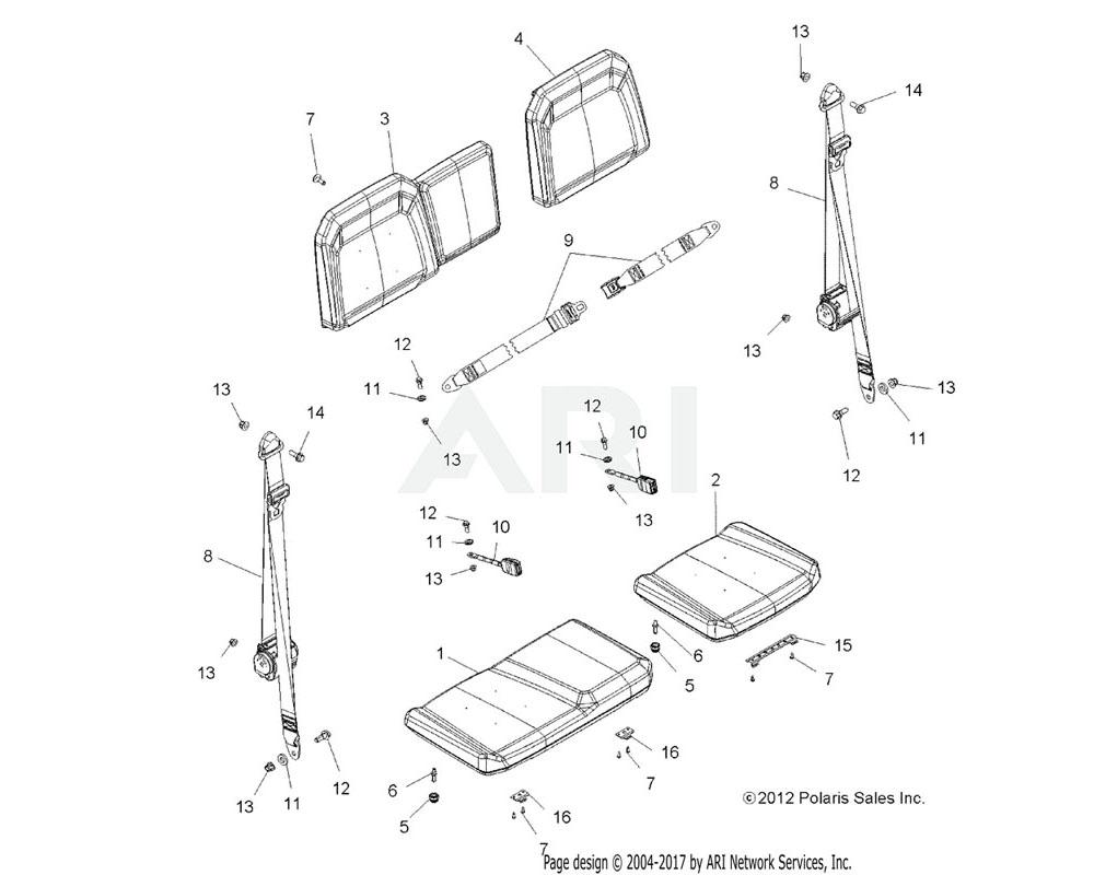 Polaris OEM 2685566 ASM., SEAT, BOTTOM, 60, BLACK/WHITE/ORANGE | [AO][EAO]