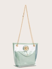 Turn-Lock Clear Tote Bag With Inner Pouch
