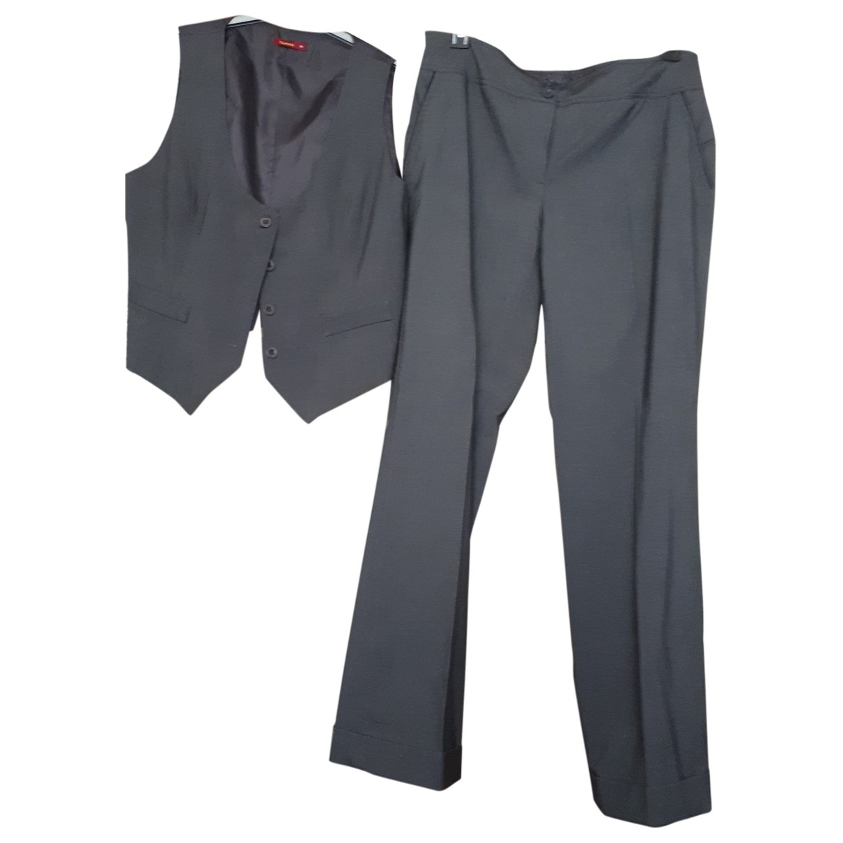 Non Signé / Unsigned \N Grey Trousers for Women 46 FR