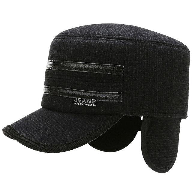Men's Fashion Flat Top Hat Wild Outdoor Woolen Belt Ear Protector Middle-aged Warm Hat