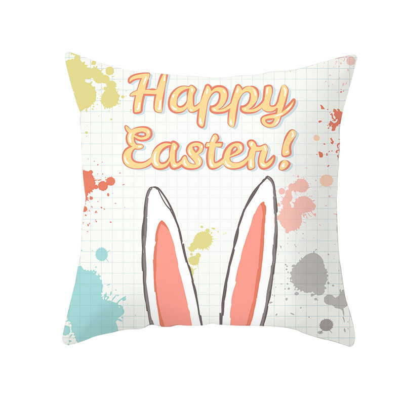 Easter Rabbit Ear 1-piece Reactive Printing Pillowcase Peach Skin Throw Pillow Cases