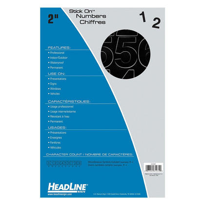 Headline Sign@ Stick On Vinyl Letter & Number Stickers - Black Numbers, 50mm (2