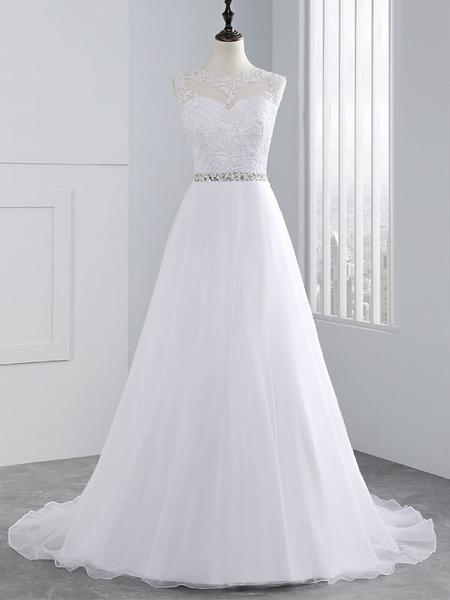 Milanoo wedding dresses 2020 a line beaded jewel neck sleeveless floor length tulle traditional bridal dress with train