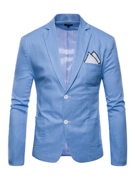 Milanoo Men Blazer Casual Front Button Suit Jacket Regular Fit Spring Blazer