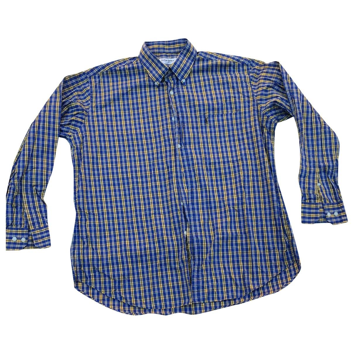Yves Saint Laurent \N Blue Cotton Shirts for Men 17 UK - US (tour de cou / collar)