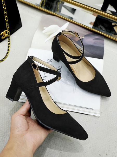 Milanoo Women Mid-Low Heels Black Pointed Toe Chunky Heel Strap Adjustable Ankle Strap Criss Cross Pumps