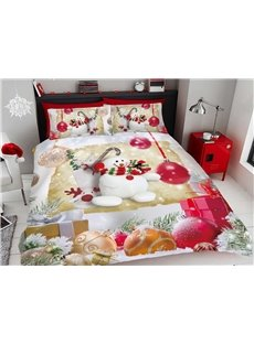 Colorful Decorative Balls And Happy Snowman 3D Printed 4-Piece Polyester Bedding Sets/Duvet Covers