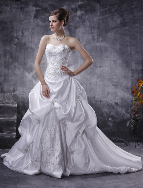 Milanoo White Wedding Dresses Strapless Ball Gowns Satin Bridal Dress Ruched Embroidered Beading Dropped Waist Wedding Gown