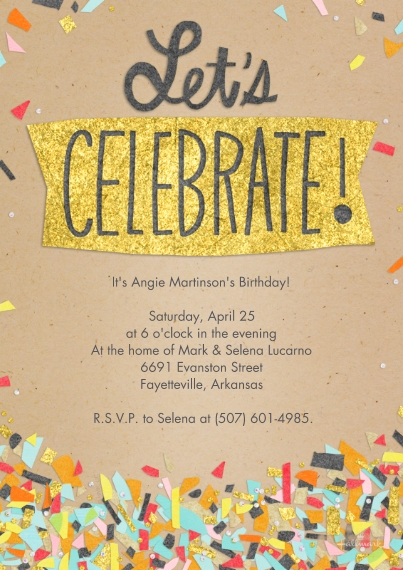 Birthday Party Invites 5x7 Cards, Premium Cardstock 120lb, Card & Stationery -Let's Celebrate Confetti