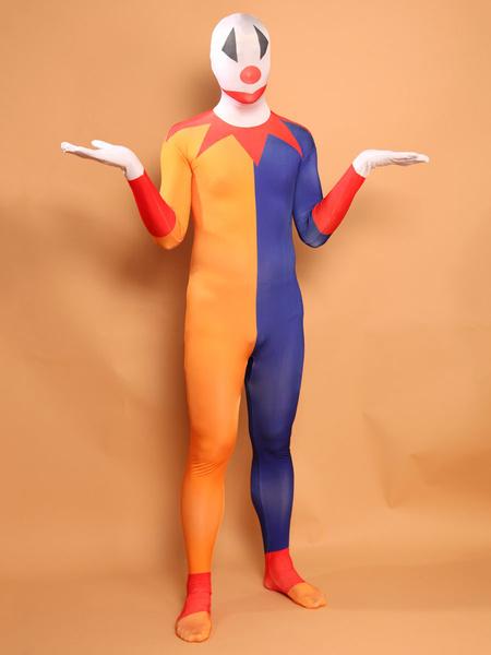 Milanoo Blue and Orange Clown Zentai Suit Full Body Lycra Spandex Bodysuit