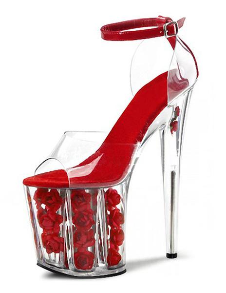 Milanoo Red Clear Sky High Platform Xmas Sandals Peep Toe Flowers Roses