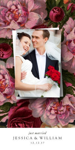 Just Married Flat Glossy Photo Paper Cards with Envelopes, 4x8, Card & Stationery -Cabbage Roses