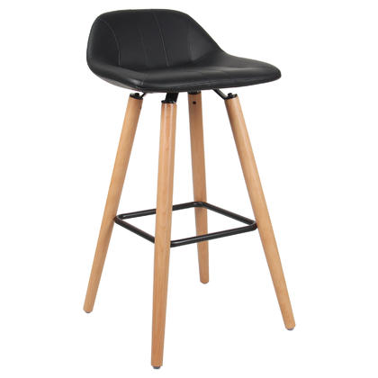 Leather Bar Stool with Beech Wood Legs - Moustache@ - 1/Pack, Black