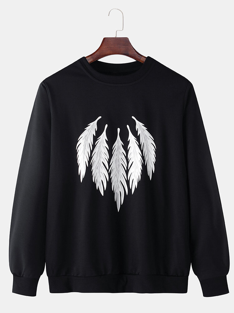 Mens Feather Pattern Print Solid Color Cotton Casual Pullover Sweatshirts