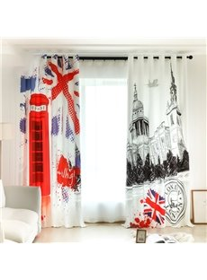 3D Printed Modern Architecture Decorative Custom Semi-blackout Curtains