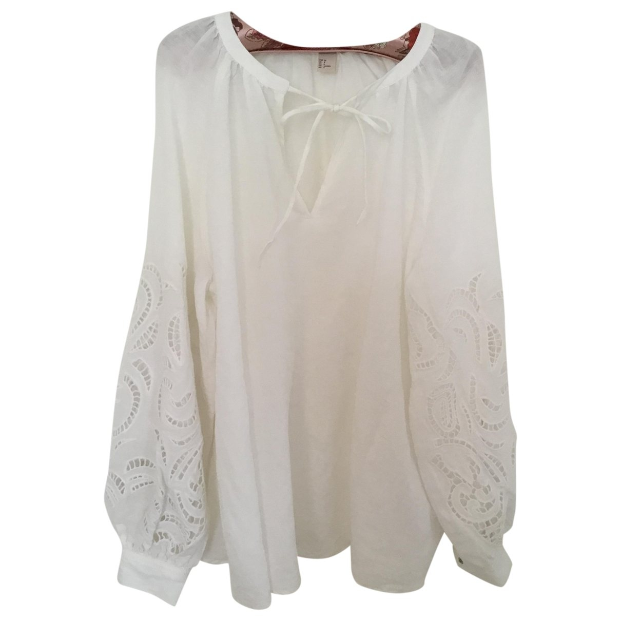 Non Signé / Unsigned \N White Linen  top for Women 4 US