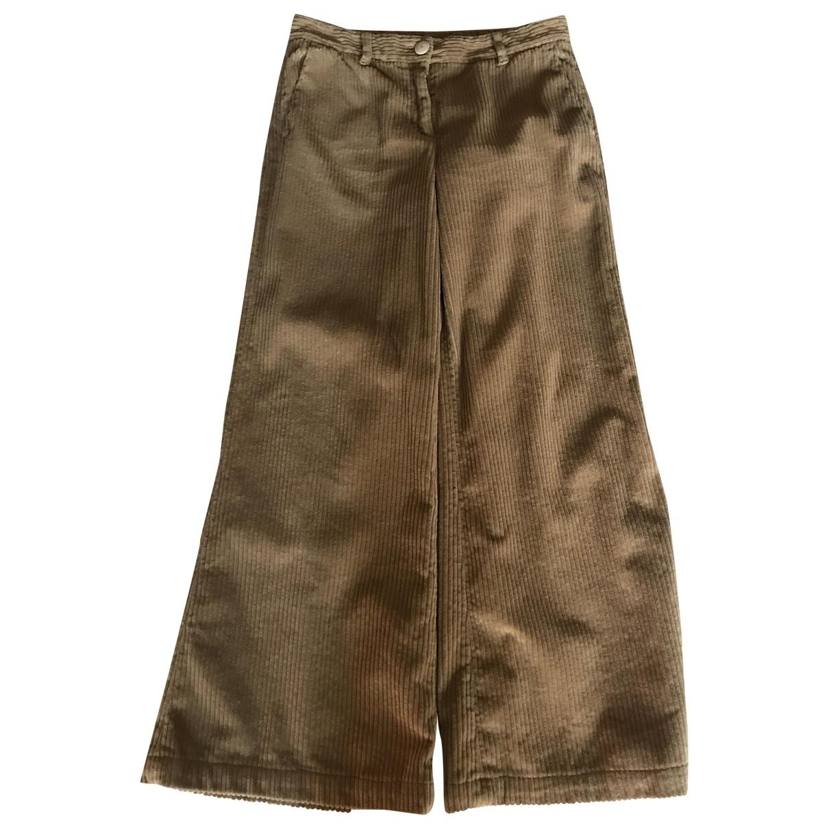 Masscob \N Camel Cotton Trousers for Women 40 FR