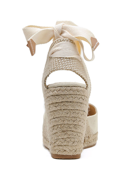 Milanoo Woman\'s Wedge Sandals Attractive Canvas Ankle Strap Wedge Sandals