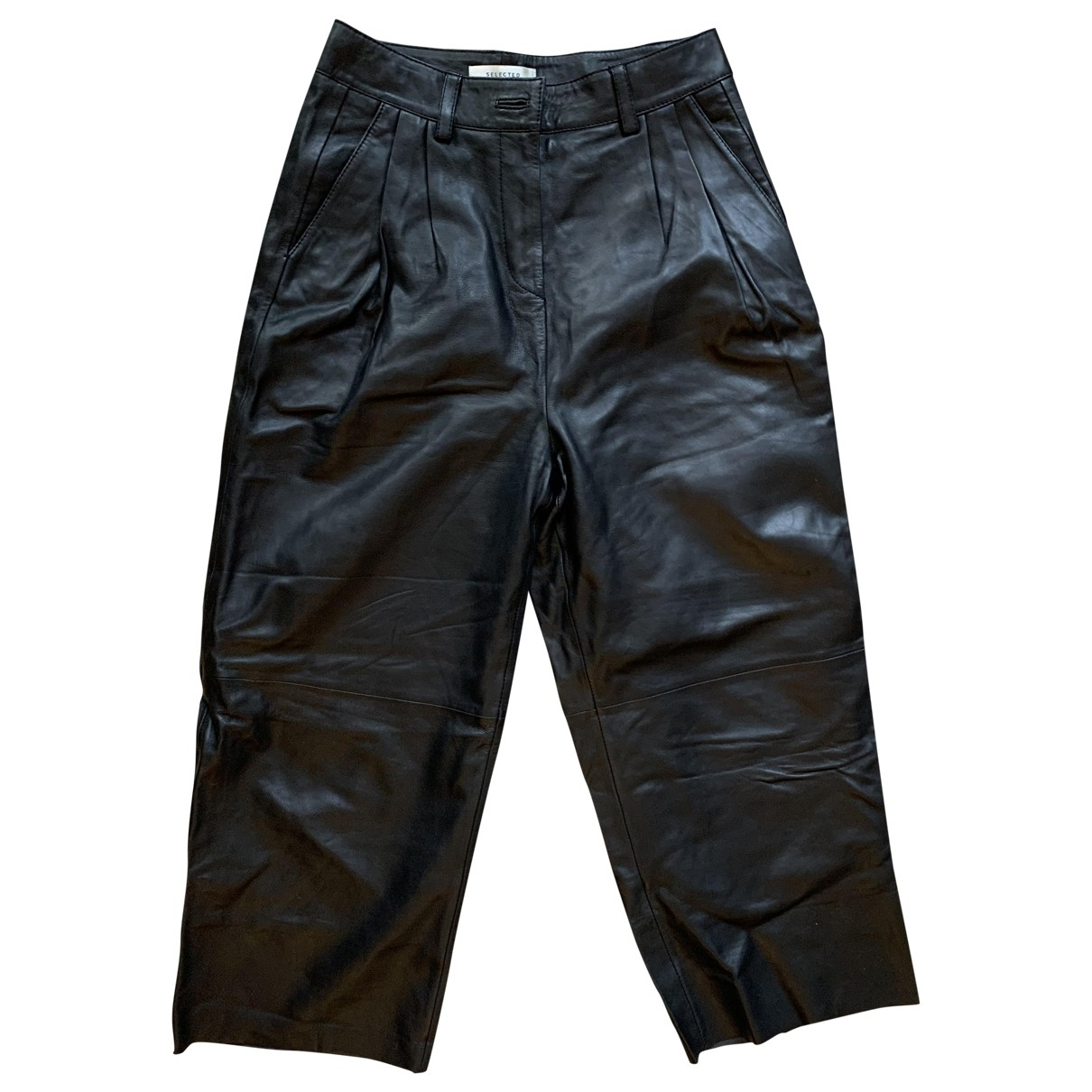 Selected \N Black Leather Trousers for Women XS International