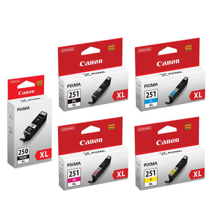Canon PIXMA MG7520 Original Ink Cartridges PGBK/BK/C/M/Y Combo, 5 pack - High Yield