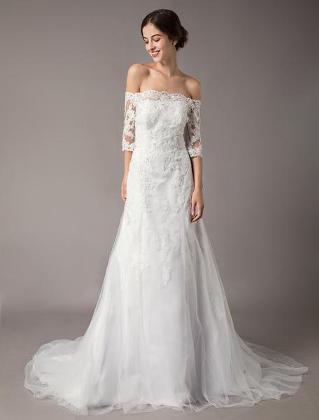 Milanoo Wedding Dresses Ivory Lace Off Shoulder Half Sleeve Sequin Applique Bridal Dress With Train
