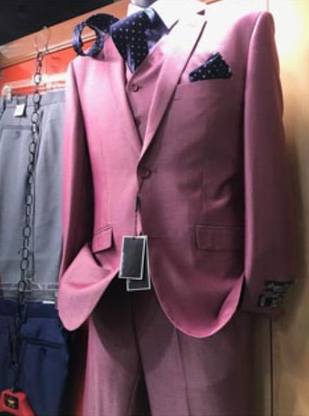 Mens Pink Vested 2 Button Suit Notch Lapel Suit