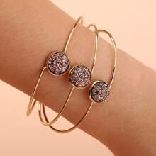Round Decor Layered Cuff Bracelet