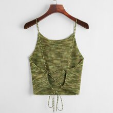 Lace Up Backless Space Dye Knit Top