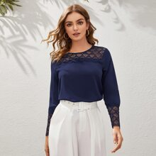Guipure Lace Panel Solid Top