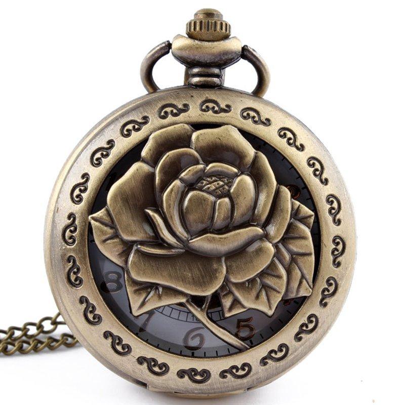 Steampunk 3D Rose Flower Hollow Antique Pendant Chain Simple Dial Quartz Pocket Watch