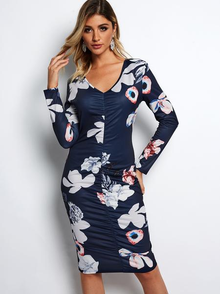 Yoins Navy Pleated Design Random Floral Print V-neck Midi Dress