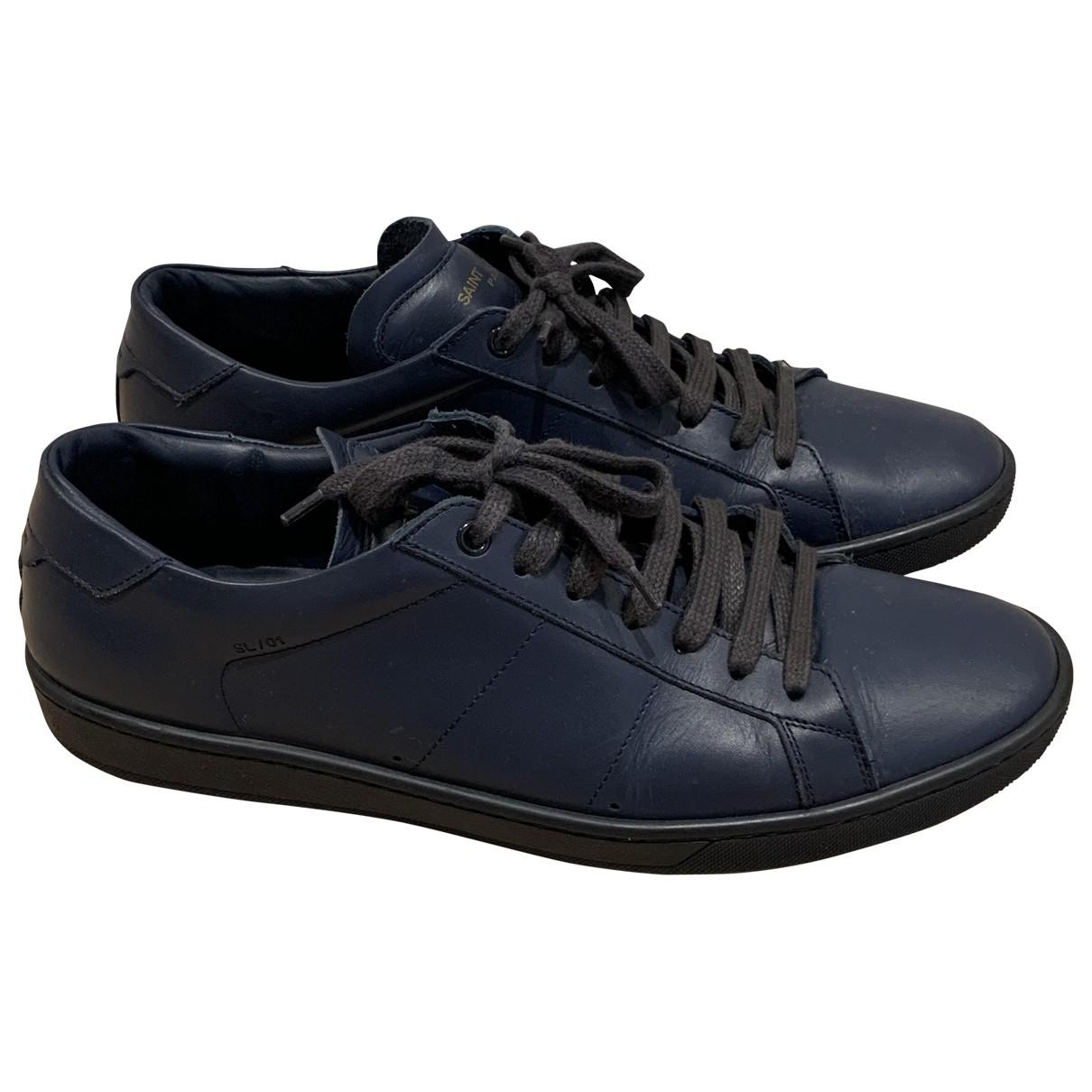 Saint Laurent SL/01 Blue Leather Trainers for Men 44 EU