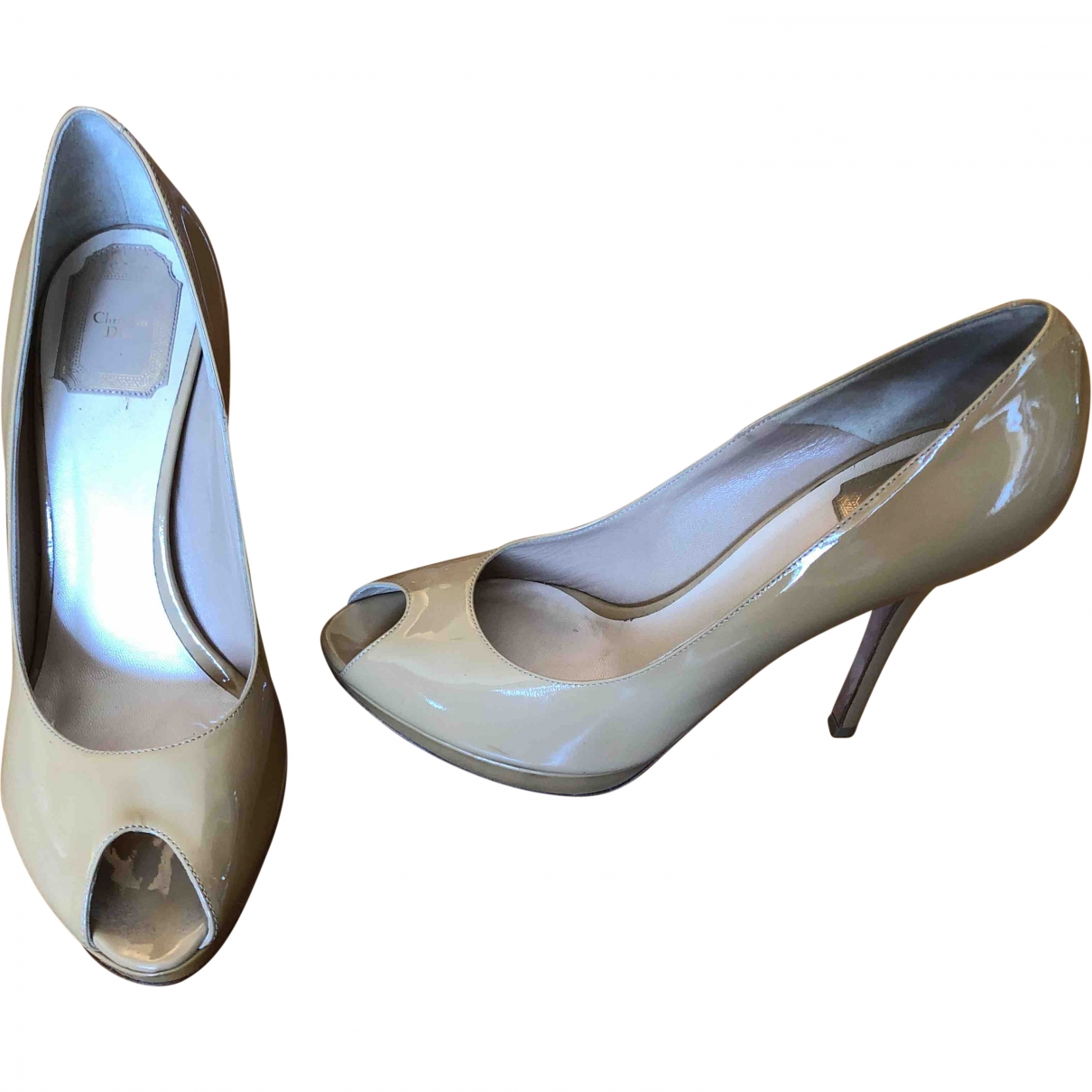 Dior \N Beige Patent leather Heels for Women 39.5 EU