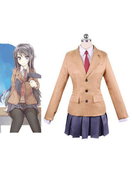 Milanoo Seishun Buta Yarou Sakurajima Mai Halloween Cosplay Costume School Girl Uniform Rascal Does Not Dream Of Bunny Girl Senpai