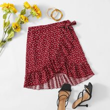 Confetti Heart Print Knot Side Wrap Skirt