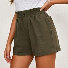 Paperbag Waist Patch Pocket Cuffed Shorts