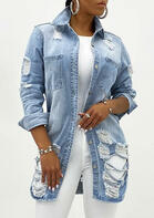 Hollow Out Ripped Hole Pocket Denim Coat - Light Blue