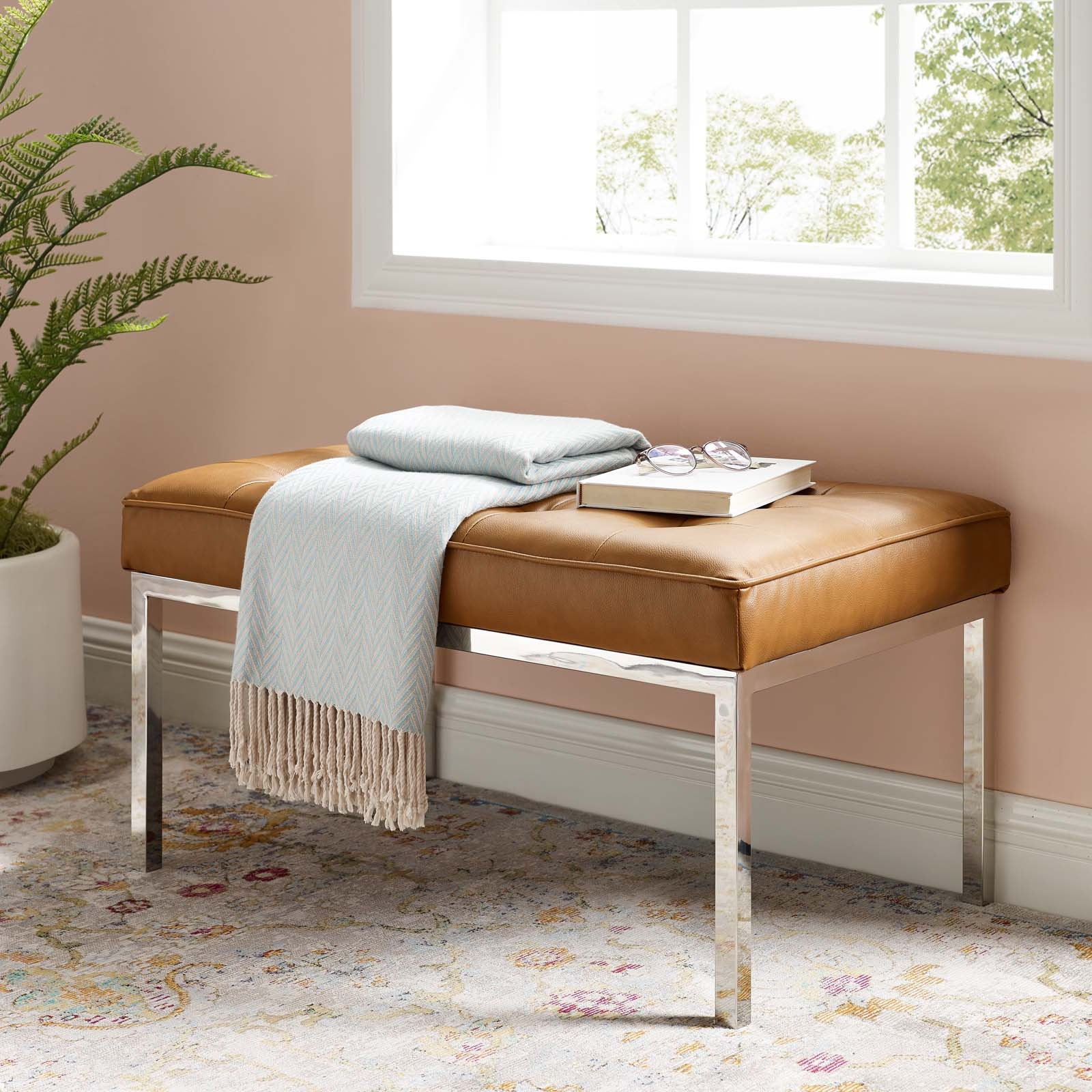 Loft Tufted Medium Upholstered Faux Leather Bench in Silver Tan