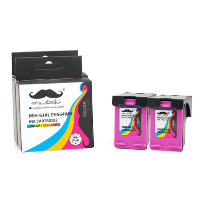 Compatible HP 61XL CH564WN Tri-Color Ink Cartridge High Yield - Moustache - 2/Pack