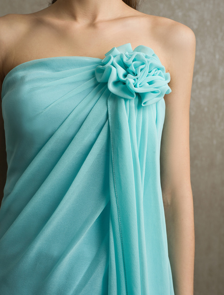 Milanoo Flower Chiffon A-line Strapless Bridesmaid Dress with Elegant Knee-Length Skirt