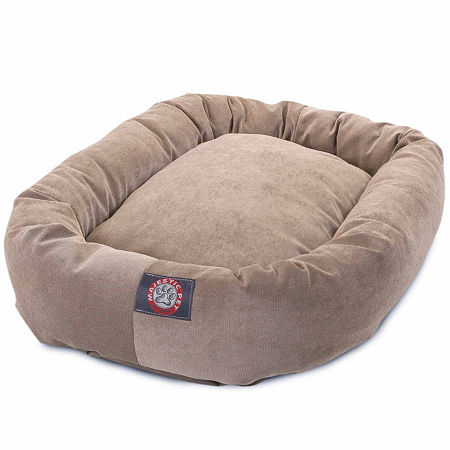 Majestic Pet Villa Collection Micro-Velvet Bagel Pet Bed, One Size , White