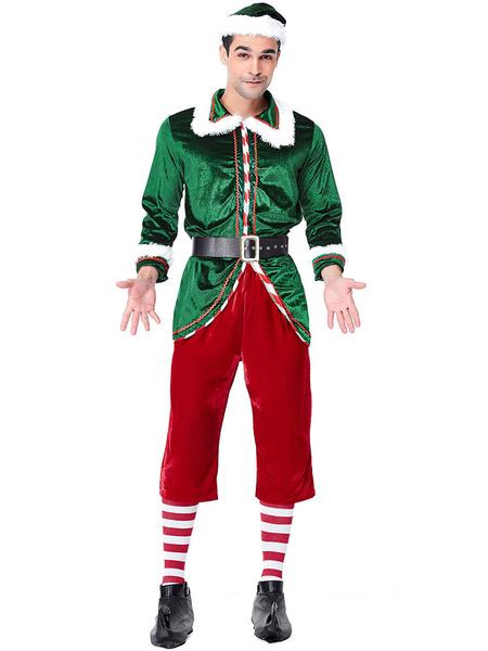 Milanoo Men\'s Christmas Costume Santa Claus Long Sleeve Thicken Party Show Elf Costume