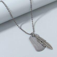 Men Leaf Geometric Charm Necklace