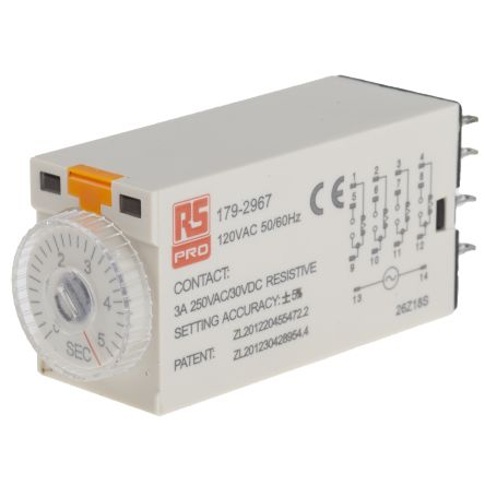 RS PRO 4PDT Time Delay Relay - 0.2 → 5 s, 4 Contacts, On-Delay, Plug In