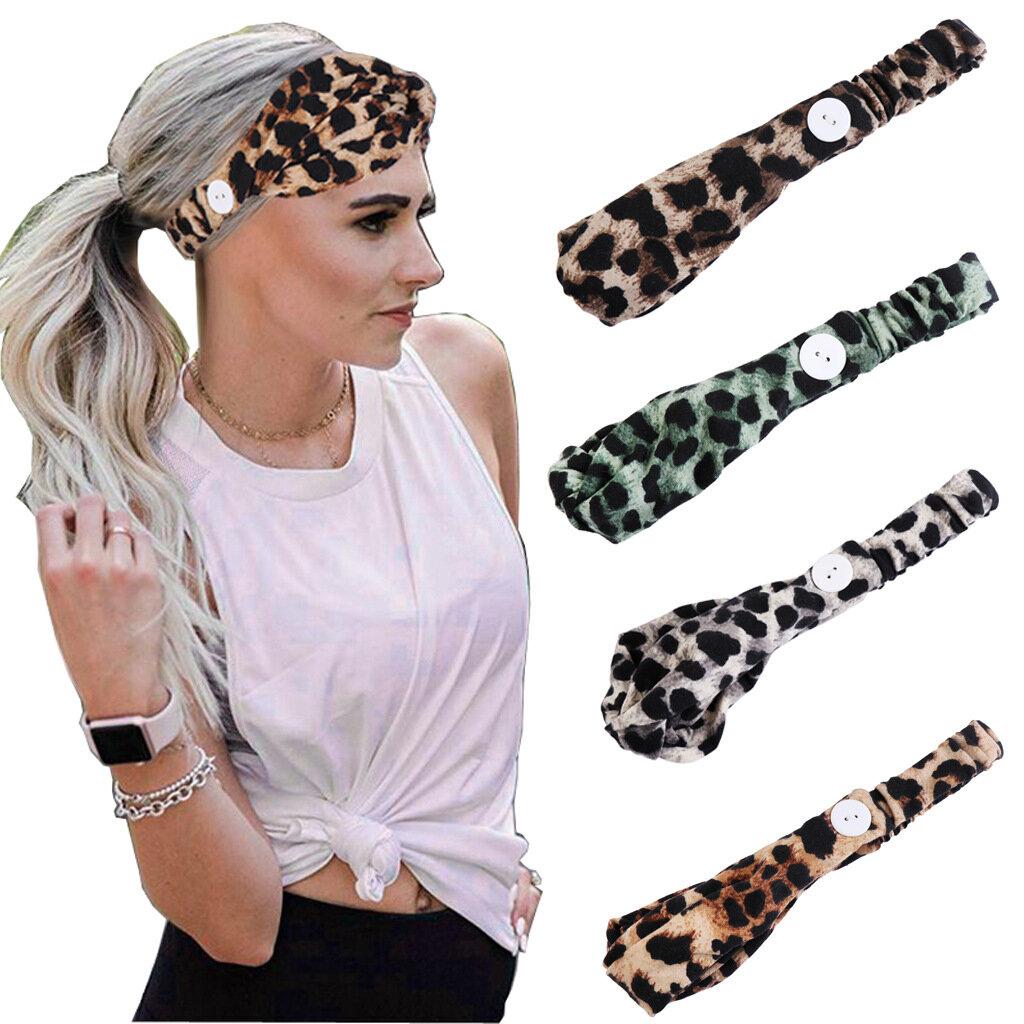 Women Printed Leopard Mask Anti-leather Button Headband