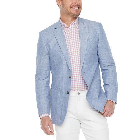 Stafford Linen Cotton Mens Classic Fit Sport Coat, 44 Long, Blue