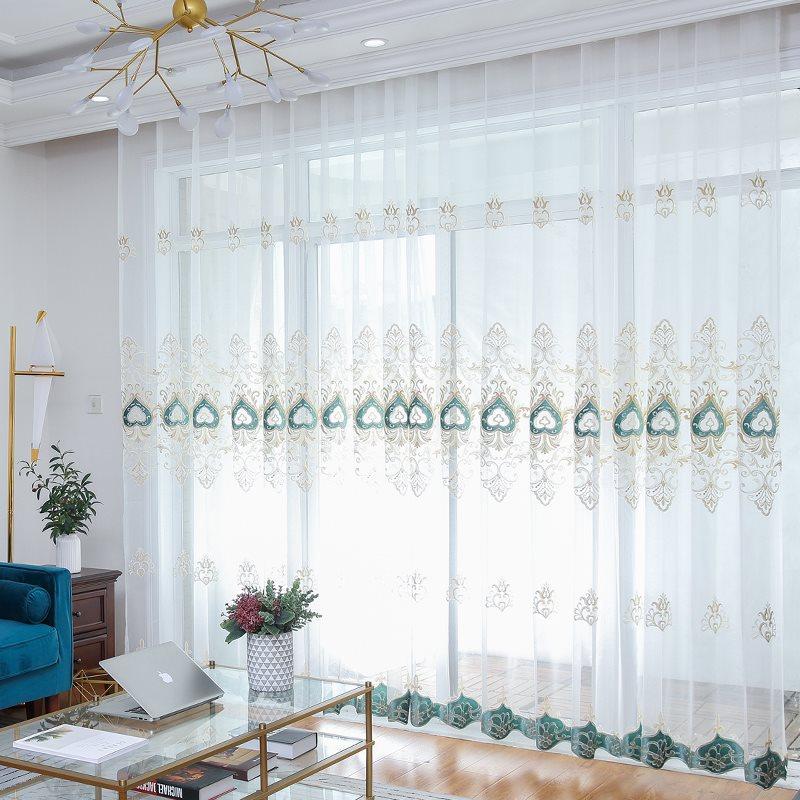Modern Elegant Embroidered Decorative 2 Panels Living Room Custom Semi Sheer Curtain