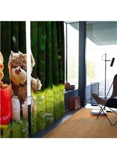 3D Blackout Cute Bear Doll Pattern Digital Printing Curtains