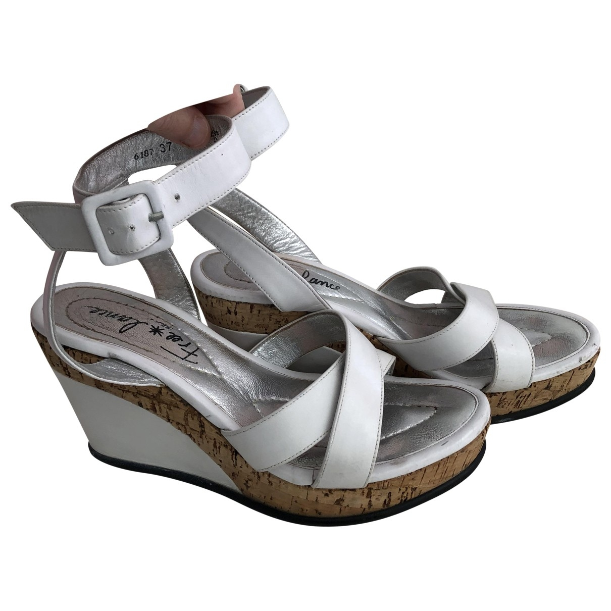 Free Lance \N White Leather Sandals for Women 37 EU