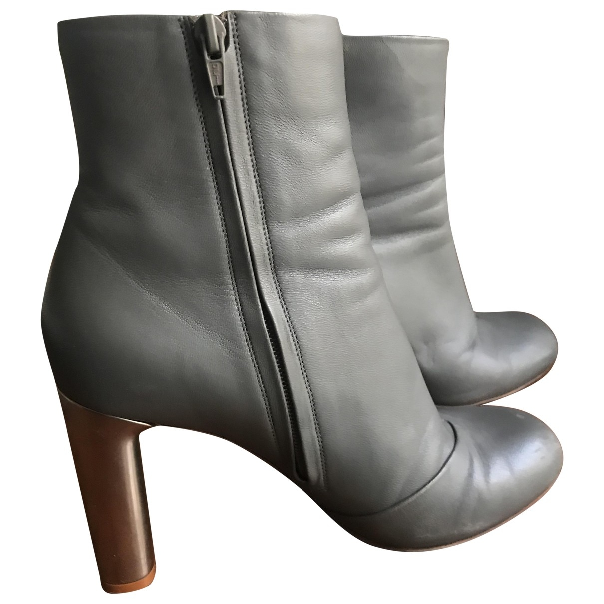 Celine \N Grey Leather Ankle boots for Women 39 EU